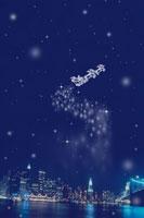雪降るマンハッタンの街並みとサンタクロース 00299010529A| 写真素材・ストックフォト・画像・イラスト素材|アマナイメージズ
