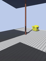 ウッドデッキと黄色いソファー CG