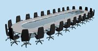 長い机と黒い椅子 CG