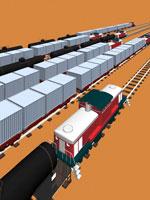 ディーゼル貨物列車と線路 CG