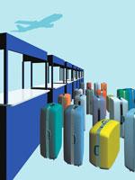 飛行機と空港の出国カウンターとスーツケース CG