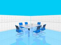 青い椅子のある会議室  CGイラスト