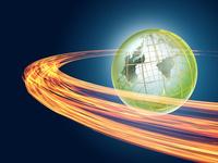 旋回する炎と地球儀