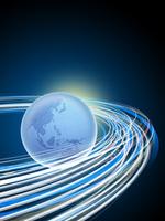 旋回する光線と地球