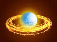 円を描く炎と地球儀