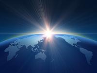 世界地図と朝日