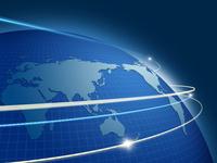 世界地図上を旋回する光 00330001555| 写真素材・ストックフォト・画像・イラスト素材|アマナイメージズ