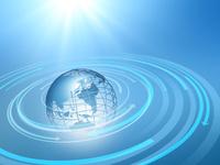 地球儀と旋回する矢印群