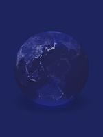 背景に溶け込む夜景の地球儀