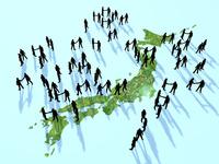 日本地図上で握手を交わす集団