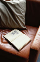 皮のソファに置いた本
