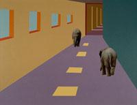 通路を歩く2頭のゾウ 合成