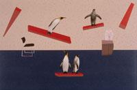 浮いた板に乗った4羽のペンギン 合成