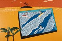 島と椰子の木とサーフィンする3羽のペンギン 合成