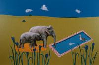 空と花と鳥と2頭のゾウの親子 合成