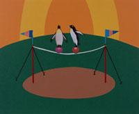球乗りして綱渡りする2羽のペンギン 合成