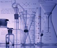 化学式とフラスコとビーカーと試験管 B/W
