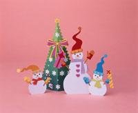 スノーマンとクリスマスツリー   ペーパークラフト