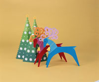 トナカイとクリスマスツリー   ペーパークラフト