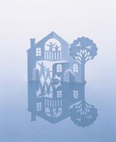 家と家族とペットの切り絵 クラフト