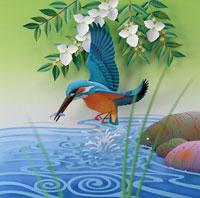 コガクウツギと魚を捕まえたカワセミ 00486010080| 写真素材・ストックフォト・画像・イラスト素材|アマナイメージズ