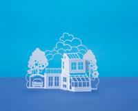 紙で出来た住宅のオブジェ 00486010133A| 写真素材・ストックフォト・画像・イラスト素材|アマナイメージズ