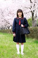 新入学の女子中学生と桜