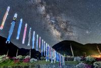 花桃の里の鯉のぼりと天の川 00545014643| 写真素材・ストックフォト・画像・イラスト素材|アマナイメージズ