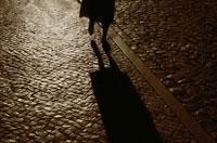 石畳の道と人物の影
