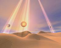 砂漠に降る水玉 CG