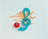複数の人形と音符と時計(カラフル)