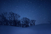雪と星空 関川村 新潟県 00616010012  写真素材・ストックフォト・画像・イラスト素材 アマナイメージズ
