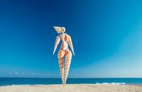 海と貝殻でできた女性の人形