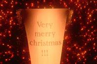 クリスマスカードとイルミネーション(オレンジ色) 00631000004| 写真素材・ストックフォト・画像・イラスト素材|アマナイメージズ