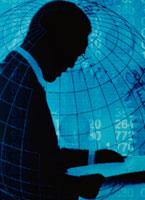 ビジネスマンのシルエットと地球儀 コラージュ 00639010003| 写真素材・ストックフォト・画像・イラスト素材|アマナイメージズ