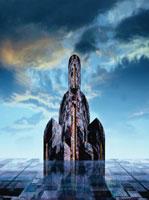 要塞のような塔と雲 CG