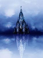 鏡に反射した建物(青)