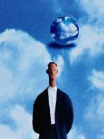 人と青空、バックに球体  CG 00684010068| 写真素材・ストックフォト・画像・イラスト素材|アマナイメージズ