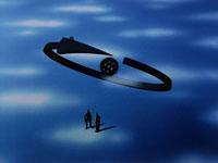 矢印と向き合う2体の人形(青) CG 00684010078| 写真素材・ストックフォト・画像・イラスト素材|アマナイメージズ