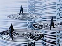 バーコードと忙しく歩く3体の人イメージ(青) CG