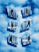 バーコードと忙しい6体の人イメージ(青) CG