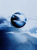浮遊する球体と矢印 CG