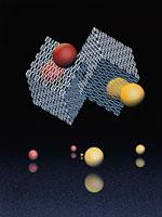 浮く球体と立方体 CG