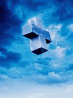 雲に浮く十字架(青) CG