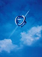 空に浮く物体(青) CG