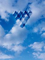 空に浮くブロック(青) CG