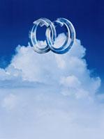 空に浮く輪(青) CG