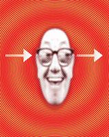 眼鏡をかけた笑顔の男性と矢印 CG 00684010291| 写真素材・ストックフォト・画像・イラスト素材|アマナイメージズ