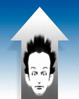 矢印の中の髪の毛の逆立った男性 CG 00684010297| 写真素材・ストックフォト・画像・イラスト素材|アマナイメージズ