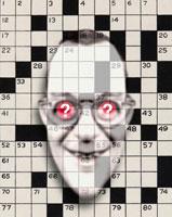 クロスワードとクエスチョンマーク目の男性の顔 CG 00684010302| 写真素材・ストックフォト・画像・イラスト素材|アマナイメージズ